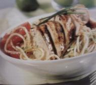 Spaghetti with Chicken and Red Pesto